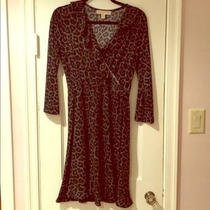 Michael Kors Black Leopard Dress- size medium